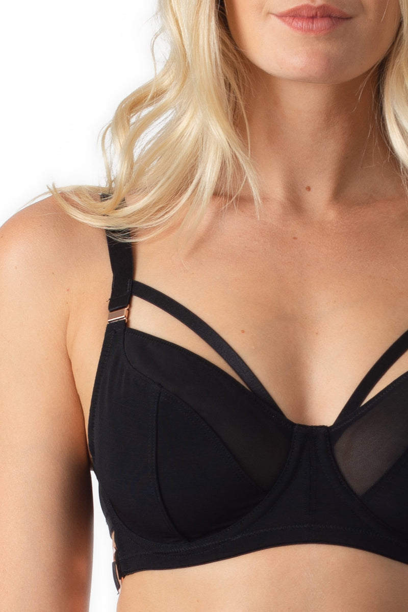 HOTMILK PROVOCATEUR 3/4 CUP BLACK BREASTFEEDING PREGNANCY NURSING BRA - FLEXI UNDERWIRE