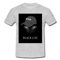 T-Shirt col rond « Black cat forever » - gris chiné