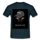 T-Shirt col rond « Black cat forever » - marine