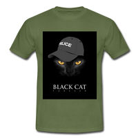 T-Shirt col rond « Black cat forever » - vert militaire