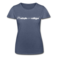 T-Shirt col rond femme « Adopte une collègue » (F+H) - marine chiné