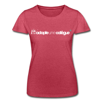 T-Shirt col rond femme « Adopte une collègue » (F+H) - rouge chiné