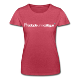 T-Shirt col rond femme « Adopte une collègue » (F+F) - rouge chiné