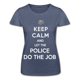 T-Shirt col rond femme « Keep calm Police » - marine chiné