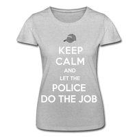 T-Shirt col rond femme « Keep calm Police » - gris chiné