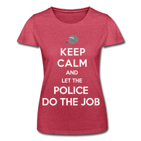 T-Shirt col rond femme « Keep calm Police » - rouge chiné