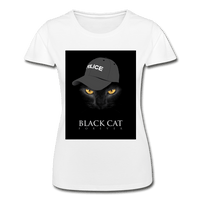 T-Shirt col rond femme « Black cat forever » - blanc