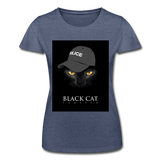 T-Shirt col rond femme « Black cat forever » - marine chiné