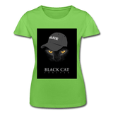 T-Shirt col rond femme « Black cat forever » - vert clair