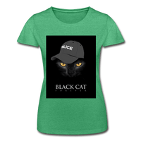 T-Shirt col rond femme « Black cat forever » - vert chiné