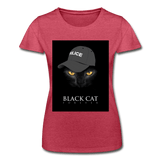 T-Shirt col rond femme « Black cat forever » - rouge chiné