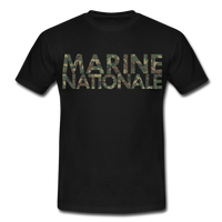 T-Shirt col rond « Marine nationale » camouflage - noir