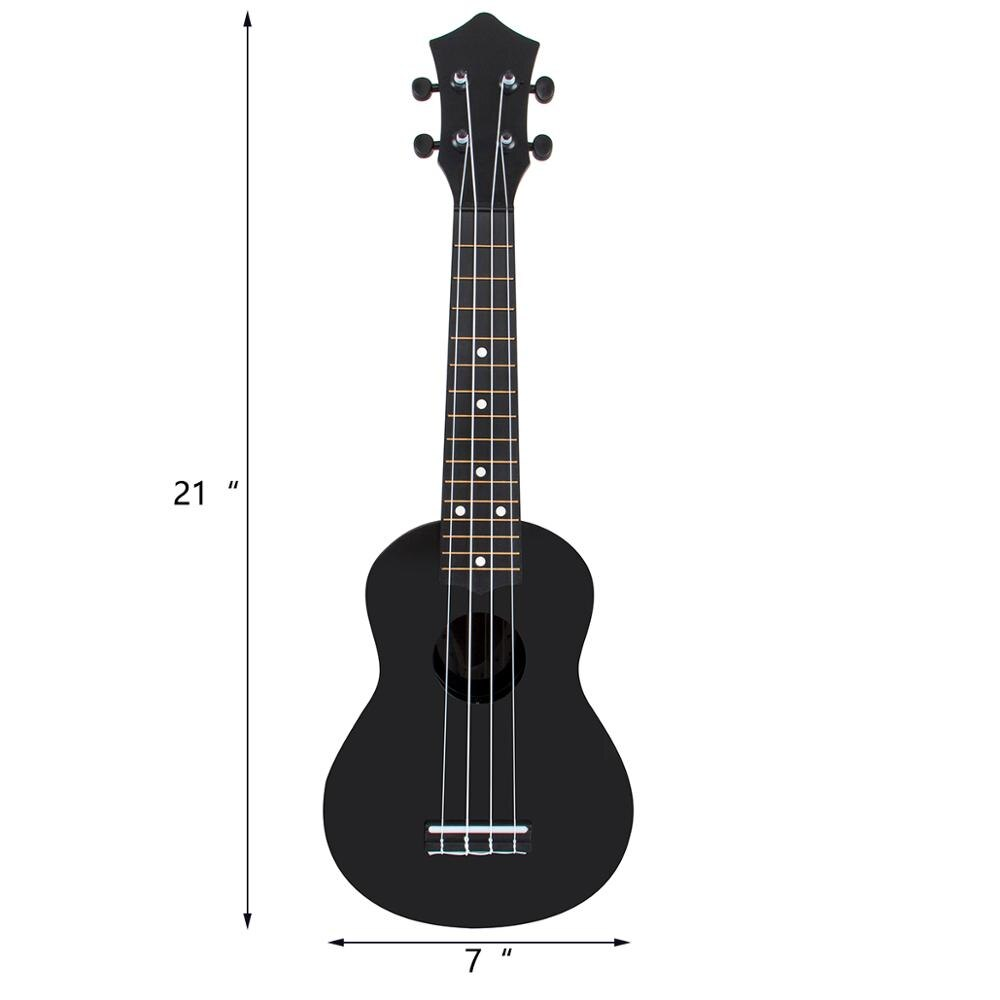 Kmise Soprano Ukulele Toy Musical Instruments for Children Kids 21 inch ABS Black Uke w/  Bag Picks String