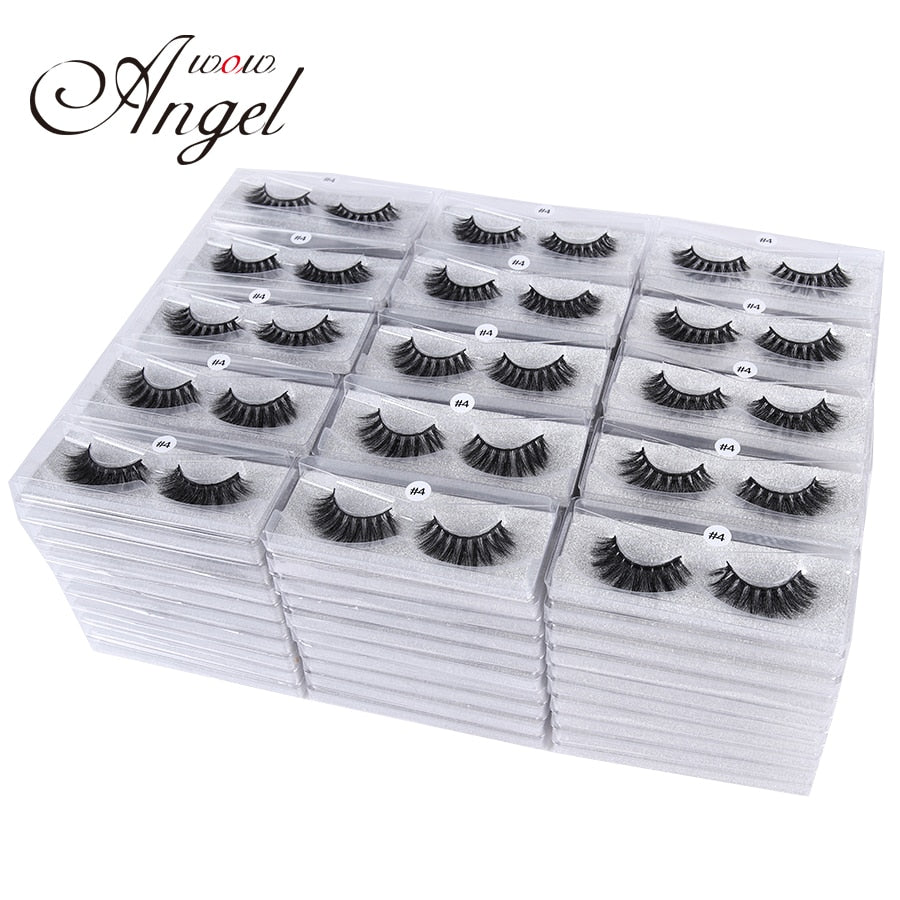 WOWANGEL 100 Pairs 3D  Mink Eyelashes Bulk Wholesale False Eyelashes Hand Made Full Strip Eyelash Extension Silk Eyelashes