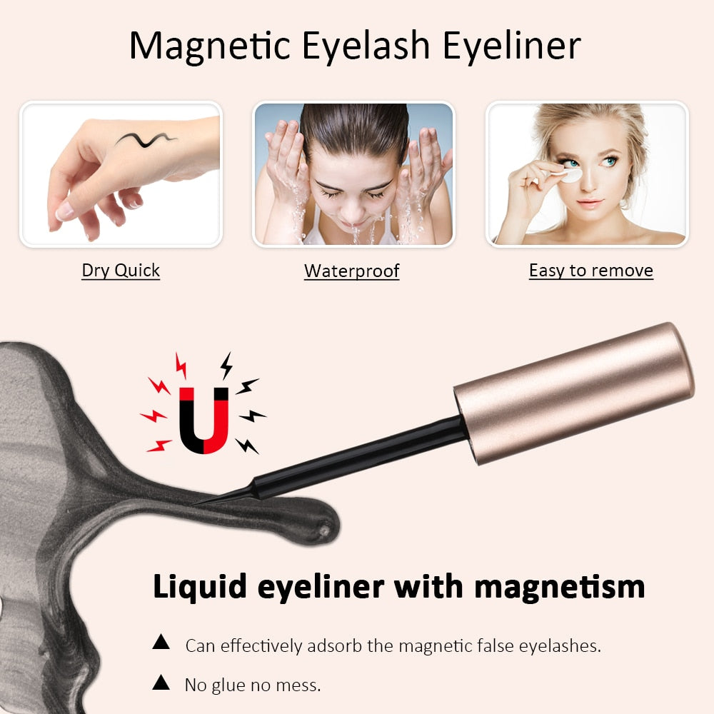 5 Pairs Magnetic Eyelashs Set Magnet Liquid Eyeliner& Magnetic Lashes Set Waterproof Long Lasting Eyelash Extension Makeup Tools