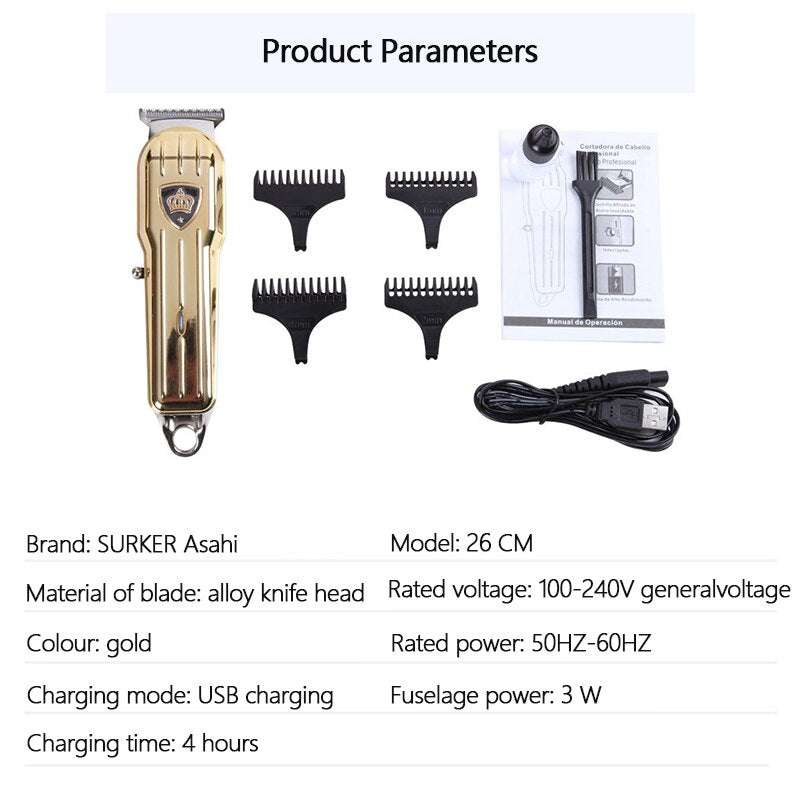 SURKER SK-655 Retro Oil Head Electric Hair Clipper Rechargeable Mini Hair Trimmer Cutting Machine USB Beard Trimmer Razor Style