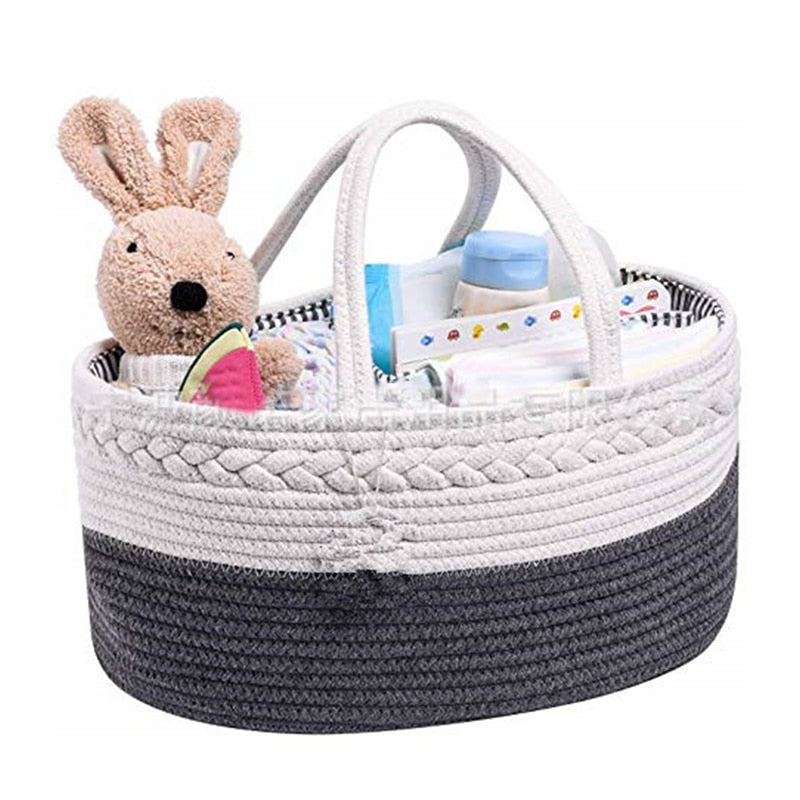 Changing Nappy Kids Storage Carrier Bag Diaper Caddy Baby Stuff Rope Nursery Basket For Diapers/wipes/bibs/binkies/burp Cloths