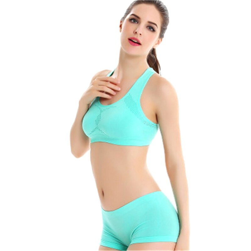 Fitness Exercise Sports Suit Seamless Yoga Set Women Sportswear Push Up Bra And Short Pant Breathable Running