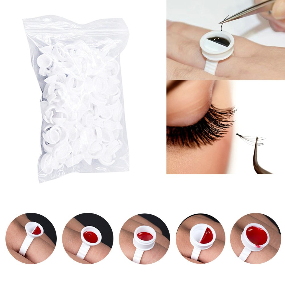300pcs Disposal Tattoo Pigment Holder Ring with Grid Eyelashes Extension Adhesive Glue Holder Palette