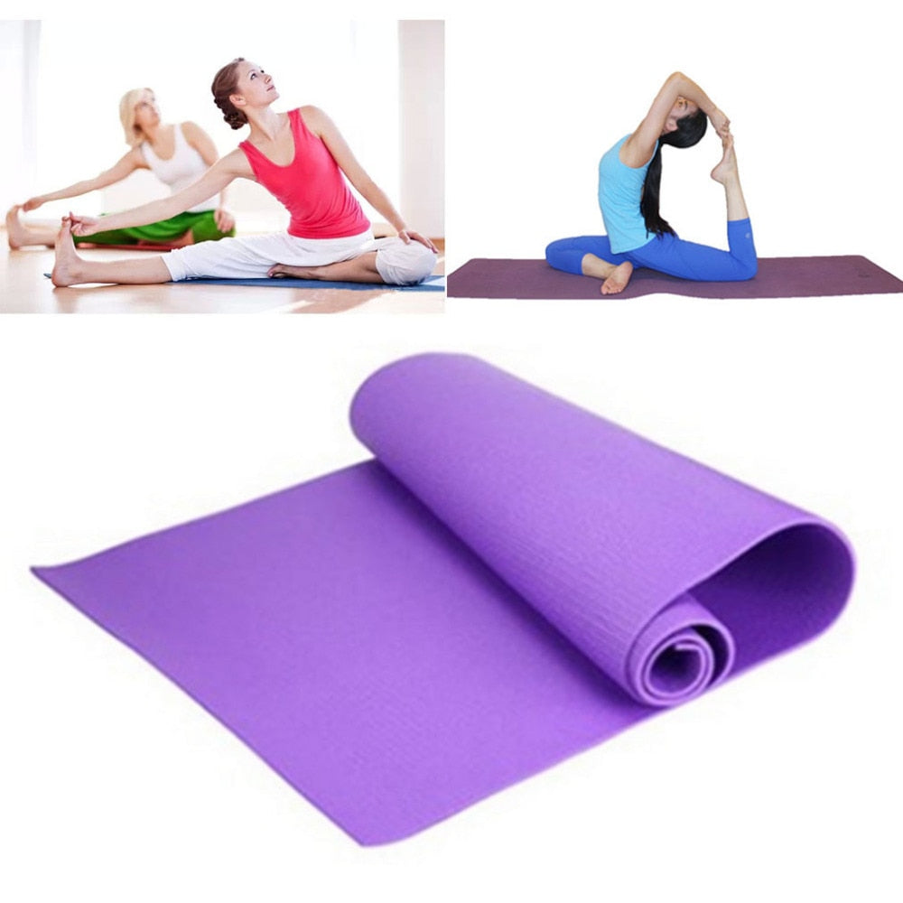 Environmental Tasteless Fitness Yoga Mats Fitness Gym Exercise Mats Moisture-proof Waterproof Yoga Gym Mat Fitness 173*60*0.4cm (violet)