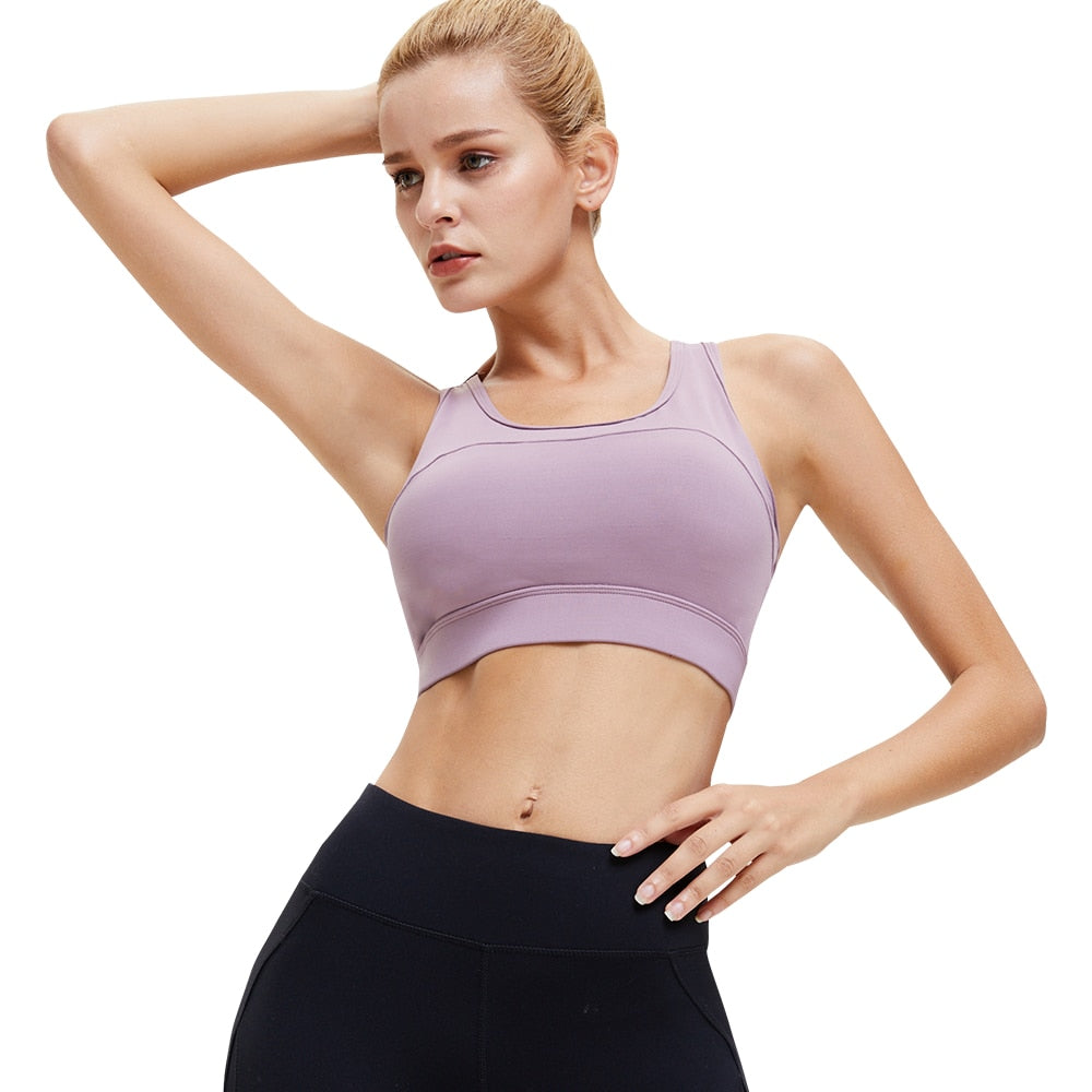 Women Solid Color Shock-proof Sports Bra Top Adjustable Back Buckle Fitness Yoga Bra Underwear Padded Cross Back Sports Bras