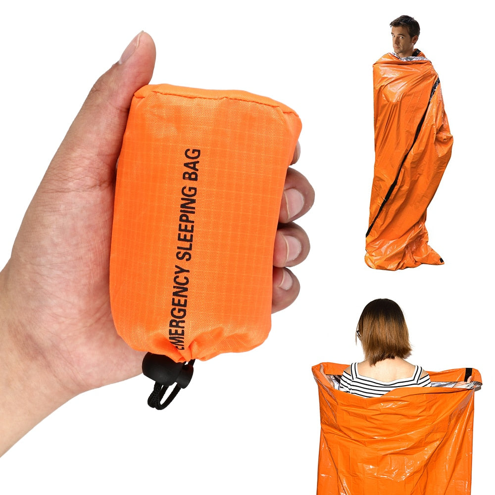 Emergency Sleeping Bag Outdoor Sports Equipment First Aid Sleeping Orange Waterproof Bag for Outdoor Survival Camping and Hiking
