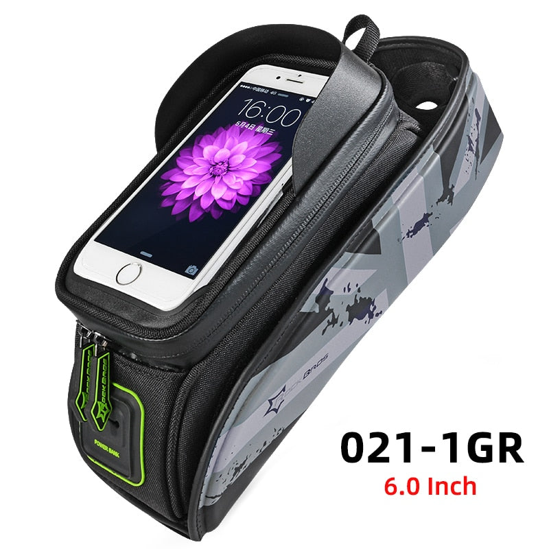 ROCKBROS Bicycle Frame Bags Waterproof Cycling Touch Screen Top Tube Bags Bike Handlebar Front Phone Case Holder Bags 6.5 Inch