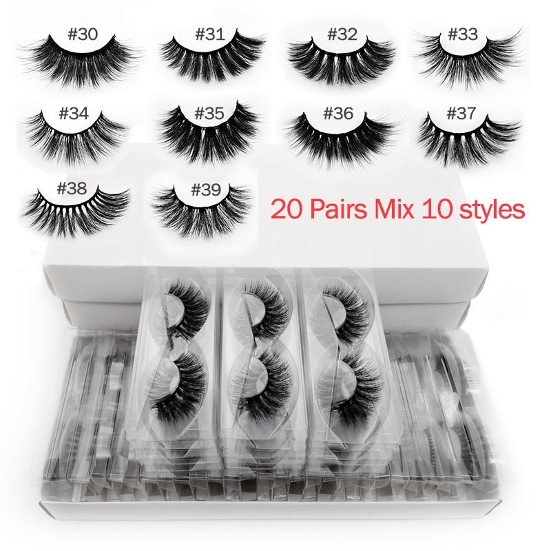 Wholesale 20 pairs 3d mink lashes bulk mix eyelash styles natural false eyelashes extension makeup soft dramatic mink eyelashes (Mix 20 pairs LASHES)