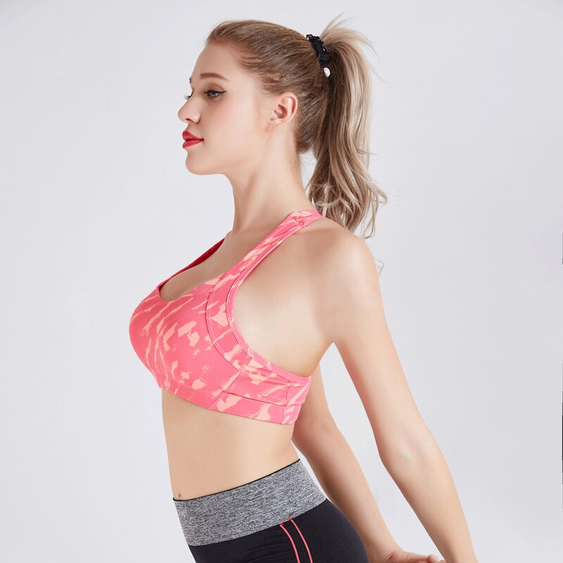 Women Sports Bra Cross Strap Back Professional Quick Dry Padded Shockproof Gym Fitness Running Yoga Sport Brassiere Tops swear