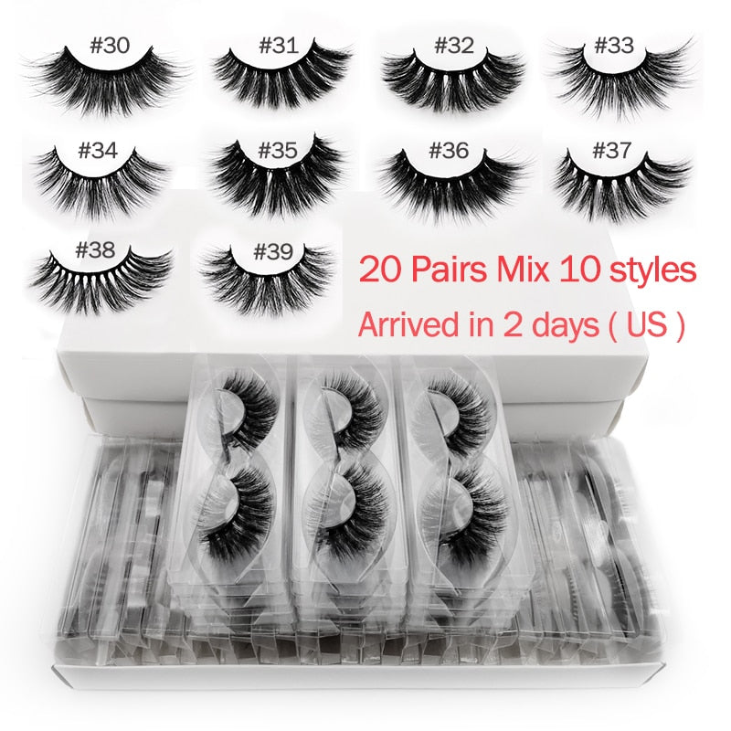Wholesale 20 pairs 3d mink lashes bulk mix eyelash styles natural false eyelashes extension makeup soft dramatic mink eyelashes