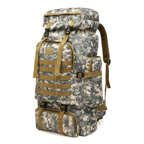 80L Waterproof Large Outdoor Bag Adjustable Hiking Bag Tactical Waist Bag Tactical Backpack Double Stitched Modular MOLLE System