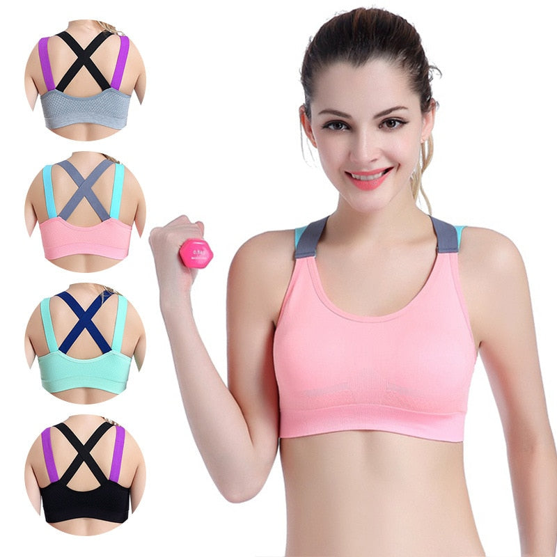 Gym Seamless Cross Straps Bra Sport Bra Sexy Sports Bra High Stretch Breathable Top Fitness Women Padded for Running Yoga TOP