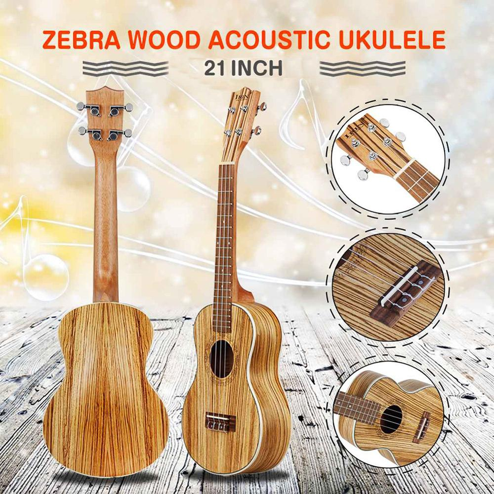 21 inch zebrawood Soprano Cartoon Ukulele Guitar send gifts Musical Stringed Instrument traditional style Mini Guitar Beginners
