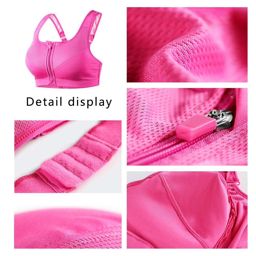 Women Zipper Sports Bras Vest Underwear Shockproof Breathable Gym Fitness Sports Bra Without Steel Ring Running Yoga Tops D30