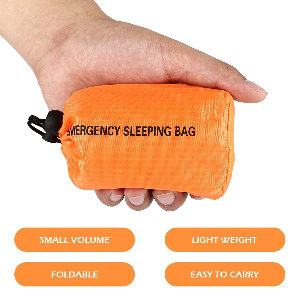 Emergency Sleeping Bag Outdoor Sports Equipment First Aid Sleeping Orange Waterproof Bag for Outdoor Survival Camping and Hiking (Silver)