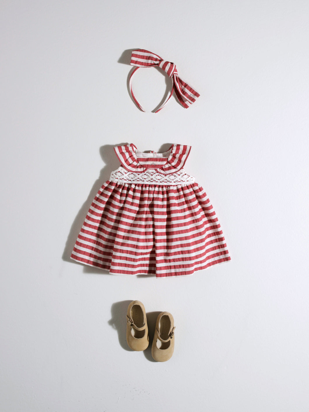 BABY GIRL STRIPED RED AND WHITE DRESS