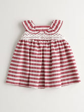Load image into Gallery viewer, BABY GIRL STRIPED RED AND WHITE DRESS