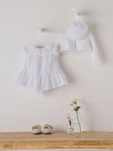 Load image into Gallery viewer, BABY GIRL WHITE PLUMETI DRESS