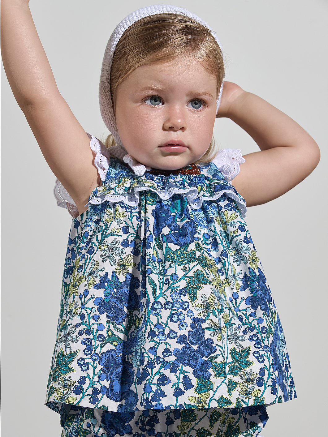 BABY GIRL BLUE COTTON DRESS & KNICKERS