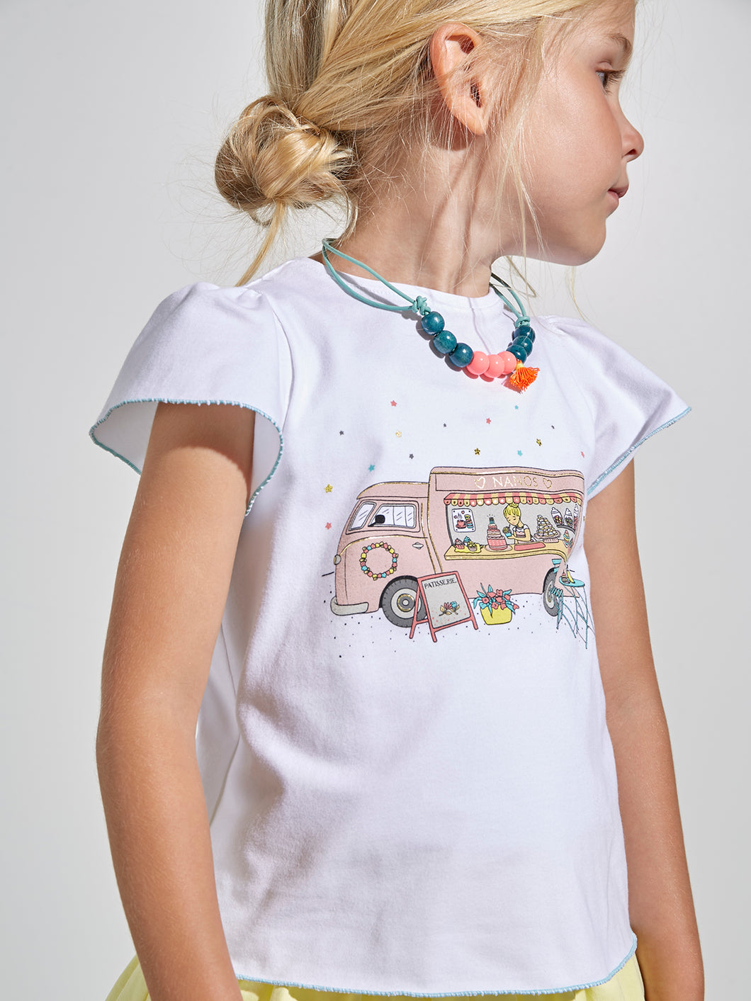 GIRLS T-SHIRT WITH FOODCART PRINT