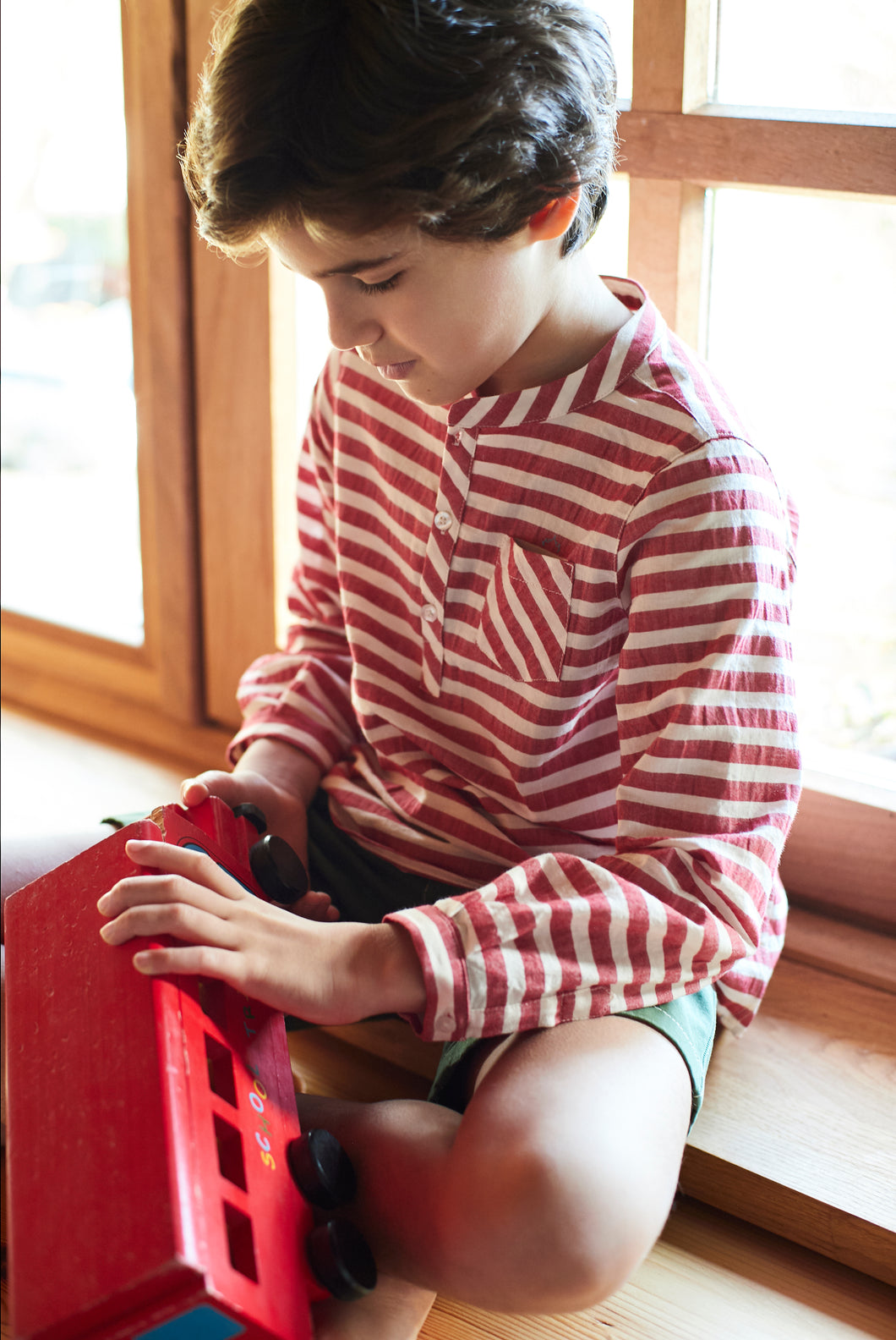 BOYS RED AND WHITE SHIRT