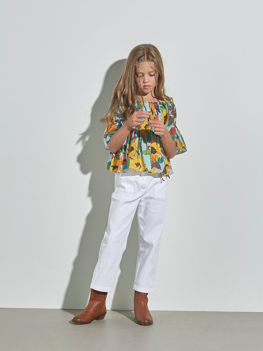 GIRLS WHITE LOOSE TROUSERS