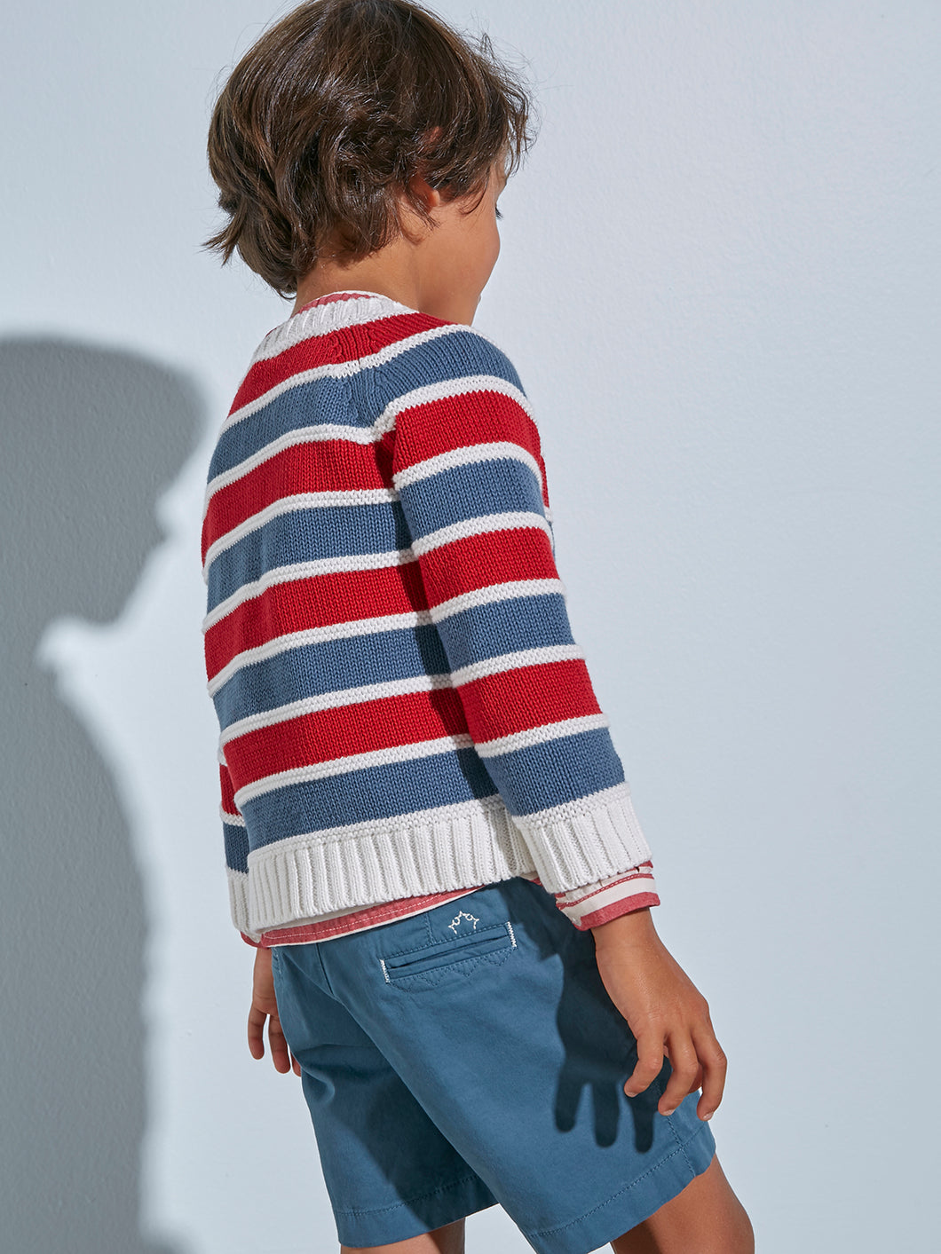 BOYS RED AND GRAY KNITTED JUMPER