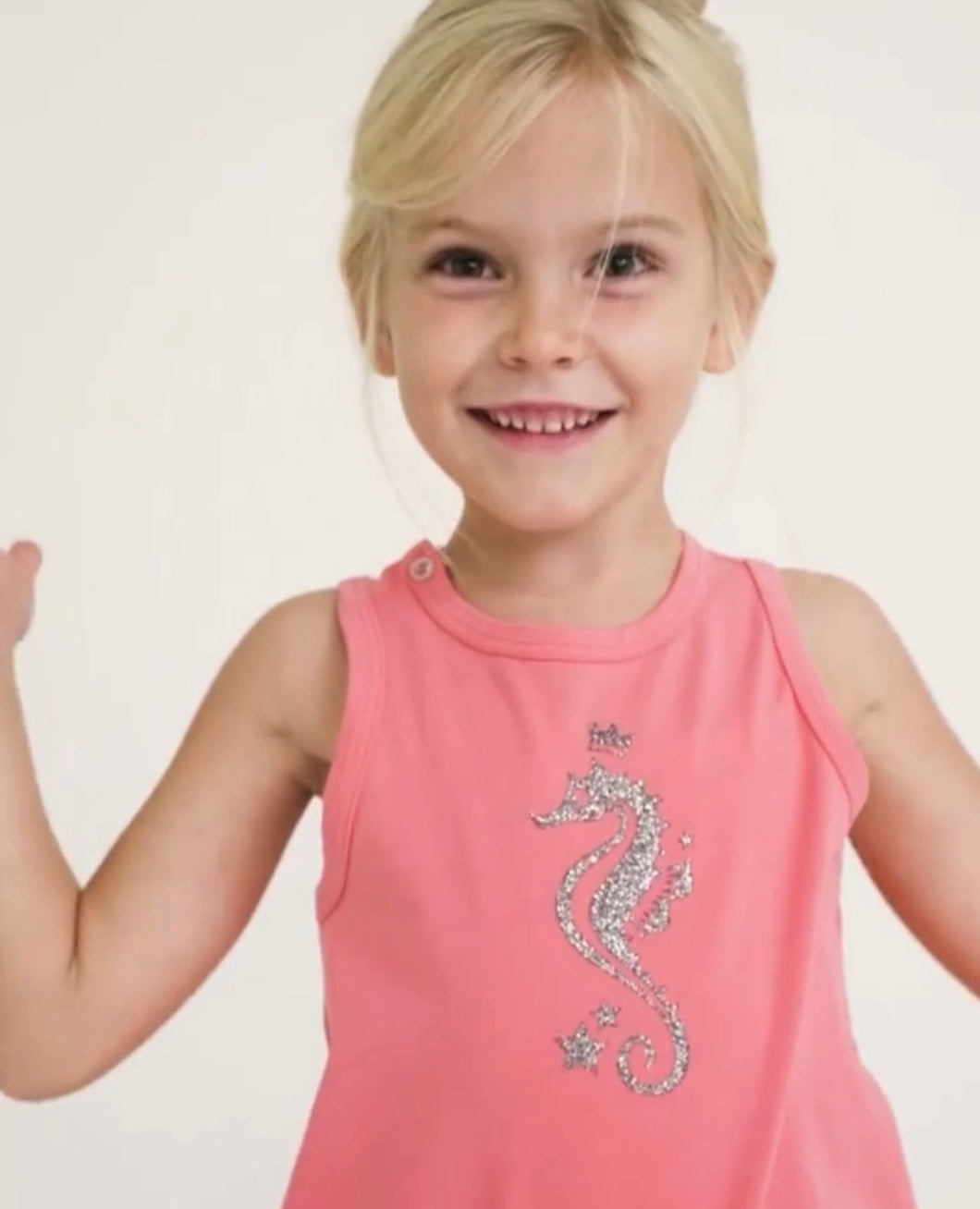 CORAL SLEEVELESS T-SHIRT WITH SEAHORSE PRINT