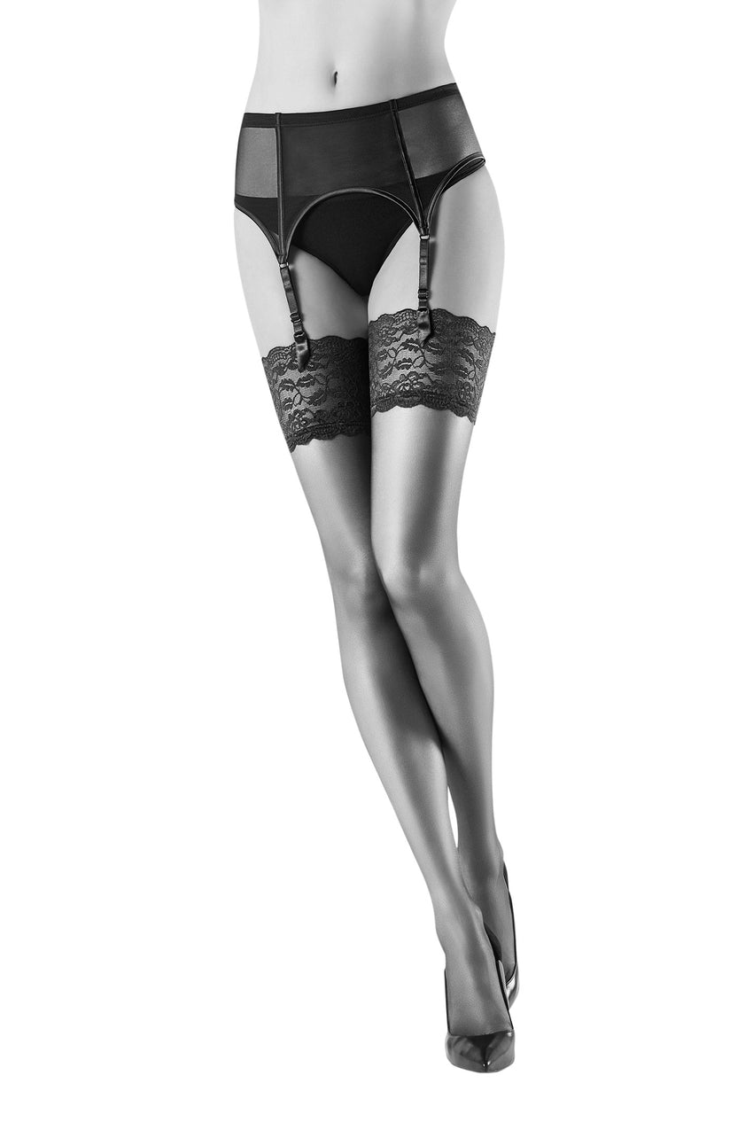 Oroblu Secret 15 Lace lingerie extra-sheer thigh highs with elegant floral stay-up bands.