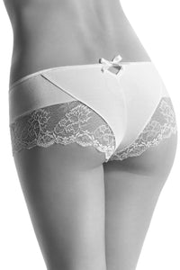 Oroblu Jamie Culotte Shorty panties with booty-framing lace and a bow on top, finished with a velvet stretch waist and gusset.