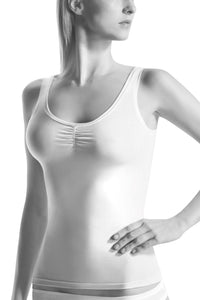 Oroblu Kate Caraco Tank camisole with a flirty ruched bust in everyday ultra-soft cotton blend.