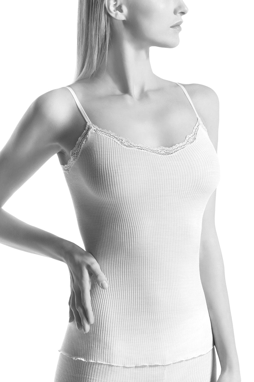 Oroblu Ellen Caraco Spaghetti A feminine spaghetti-strap tank camisole in soft ribbed wool-silk blend, with a lace-trimmed deep round neckline.