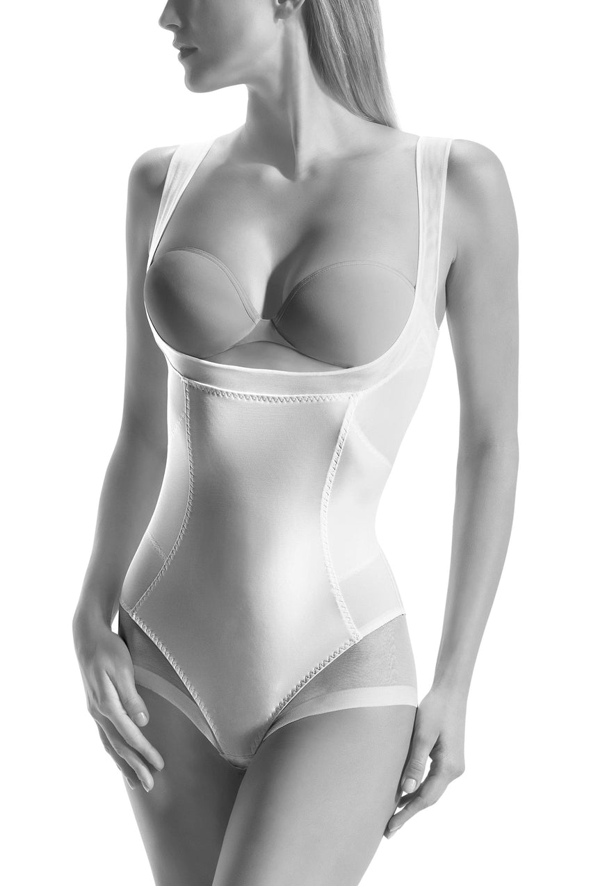 Oroblu Slim Chic Topless Slimming body shaper suit with open bust under-bra support and tummy control, made with tulle-enhanced fabric.