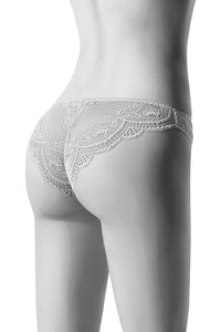 Oroblu Adele Brazilian Slip Go full Brazillian in shorty panties with all-over lace and cotton gusset.